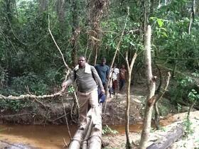 Anthony Bettee, undertaking SCH MDA in Bong County, Liberia
